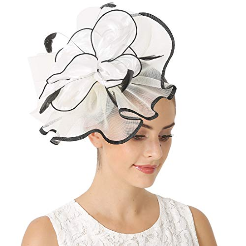 Sinamay Feather Fascinators Womens Pillbox Flower Derby Hat for Cocktail Ball Wedding Church Tea Party (Black and White)