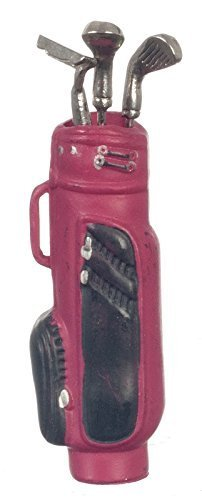 1:12 Scale RED Golf BAG with 3 Clubs #G8032r (Jane Toy Bag)