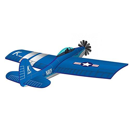 45 Inch Corsair U.S. Navy Fighter Plane 3D Wind Force Kite, Blue - Navy Blue Kite