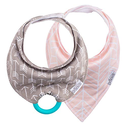 Brown Chewable - Dr. Brown's Super Soft Bandana Bibs with One Snap-On Teether, 3m+, Arrows & Herringbone, 2 Count