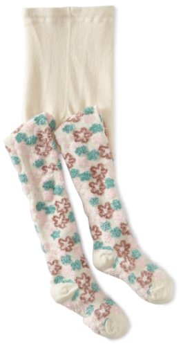 Country Kids Little Girls'  Fuzzy Flower Tights, Ivory, (Ivory Flower Tights)