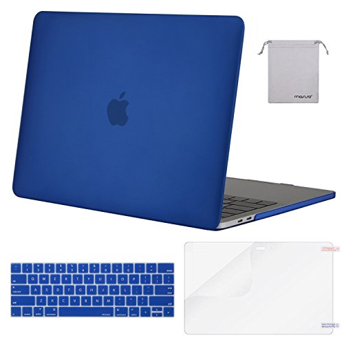 MOSISO MacBook Pro 15 Case 2018 2017 2016 Release A1990/A1707 Touch Bar Models, Plastic Hard Shell & Keyboard Cover & Screen Protector & Storage Bag Compatible Newest Mac Pro 15 Inch, Royal Blue