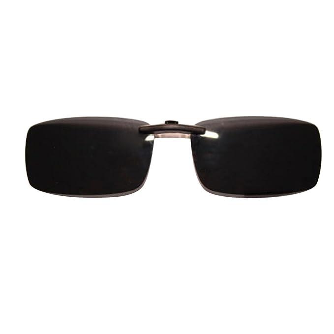 Gafas de sol con clip, unisex, polarizadas, sin montura, lentes rectangulares, con clip de apertura hacia arriba para enganchar en las gafas graduadas