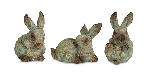 Melrose Rabbit Distressed Green 6 inch Resin Stone Collectible Figurines Set of 3