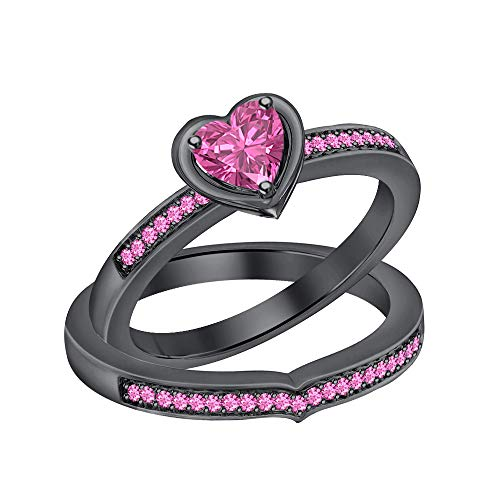 (RUDRAFASHION Lovely Heart Shaped Created Pink Sapphire 14K Black Gold Plated Half Eternity Promise Bridal Ring Curved Band Set for Womens)