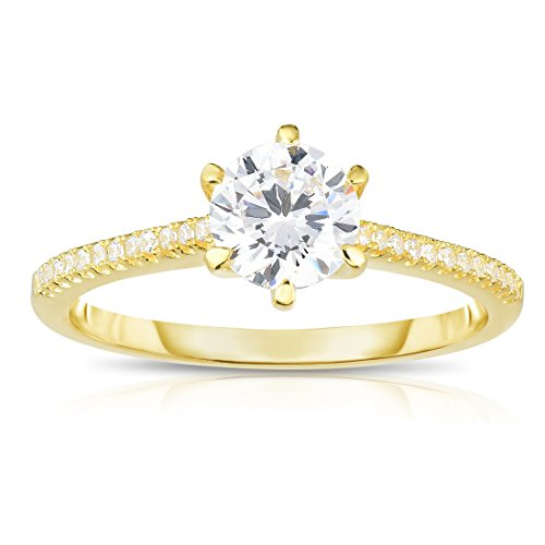 Cupid White Gold Ring - Yellow Gold Plated Sterling Silver 6-Prongs Set Cubic Zirconia Solitaire Engagement Ring, Size 8