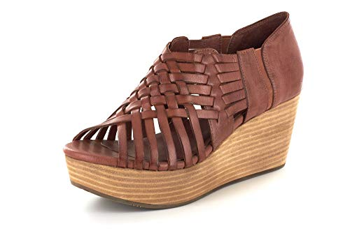 Chocolat Blu Woody Wedge - Woven Sandal on a Wooden-Style Platform - Women's Leather Shoes Bourbon Leather 7 ()