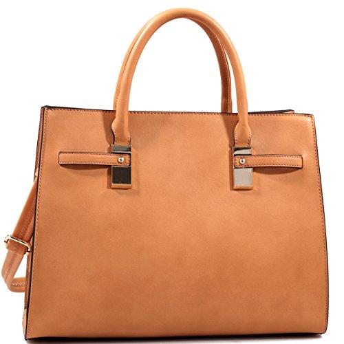 dasein-structured-faux-leather-gold-tone-satchel-shoulder-bag-tan