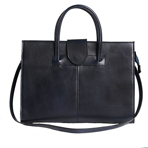 Hand Briefcase Italian Poster Bag Italy Leather In Made Woman Blue 40x30x10 Cm O4qwqE5U
