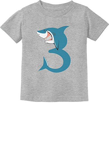 TeeStars - 3rd Birthday Shark Party Gift for 3 Year Old Toddler Kids T-Shirt 3T Gray ()