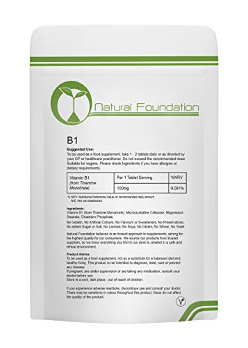 Vitamin B1 Tablets 100mg 100% Vitamin Thiamin Thiamin Supplement for Energy, Metabolism and Health | Natural Foundation…