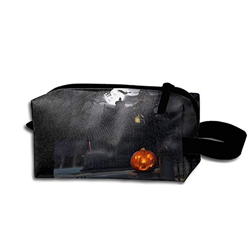 Scary Halloween Pumpkin Travel Cosmetic Bag Portable Makeup Pouch Pencil -