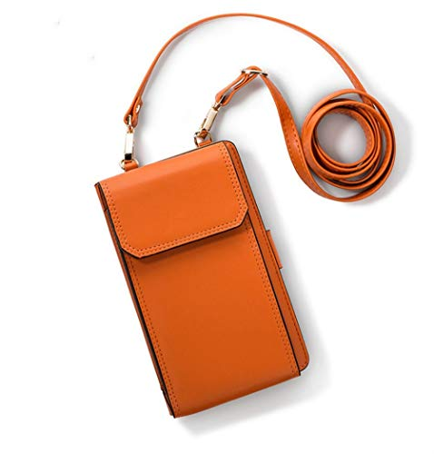 Cute Square Bag for Girl, Caxion Small Crossbody Bag Premium Leather Billfold Travel Handbag with Removable Shoulder Strap Smartphone Case Cover Fits Samsung Galaxy S9/S8/S7 Edge - Orange