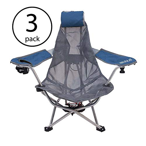 (Kelsyus Mesh Folding Backpack Beach Chair with Headrest, Blue and Gray | 80403 (3 Pack))