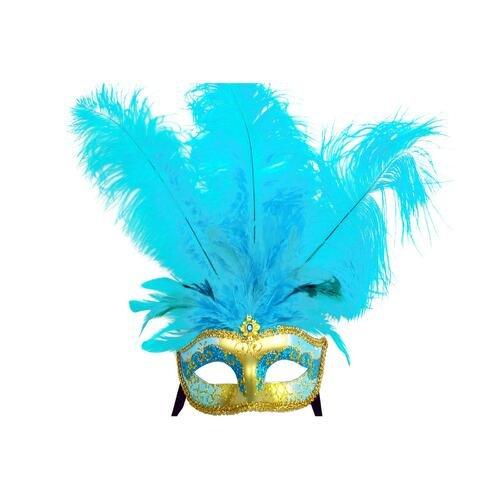 FABULUOS Venetian Half Face Eye Masquerade Halloween Costume Party M6151 (M6151-Light (Feather Half Masks)