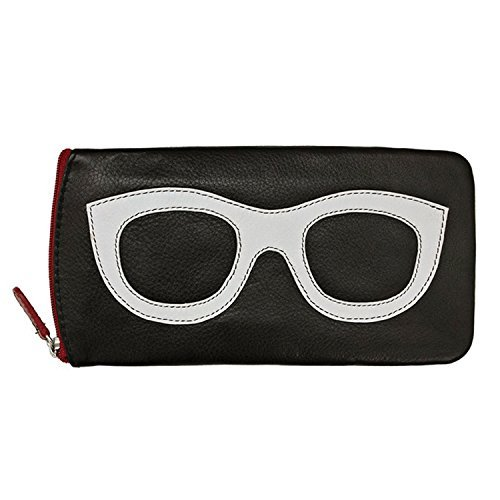 Women's Leather Eyeglasses Case - Zipper Close - 7'' x 4'' - Black with White