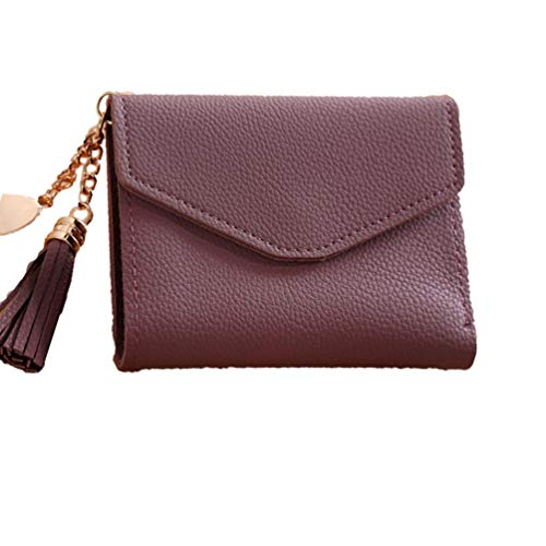Moda coreana para mujer, estilo corto, cartera con borla Trendy Ladies Soft PU de cuero Multi-Cards Slots Money Organizer...