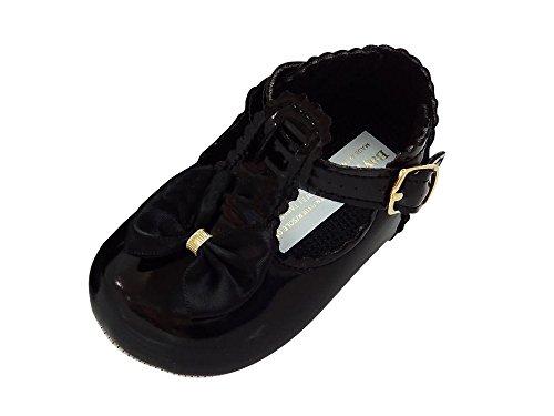 mgt-shop Shop Bautizo Guantes bebé guantes piel charol. Sandalias Bautizo boda niña Negro negro