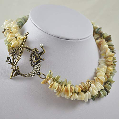 - Beautiful Multi-Strand Necklace from Shell Chips with Mermaid Toggle Clasp