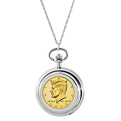 American Coin Treasures Gold-Layered JFK Half Dollar Coin Pocket Watch Coin Pendant Necklace