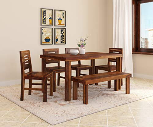 Induscraft Sheesham Wood Gossip Gang 6 Seater Dining Set with Bench