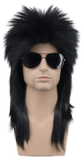 Karlery Men Women Long Straight Black Wig 70s 80s Heavy Metal Rocker Wig Disco Mullet -