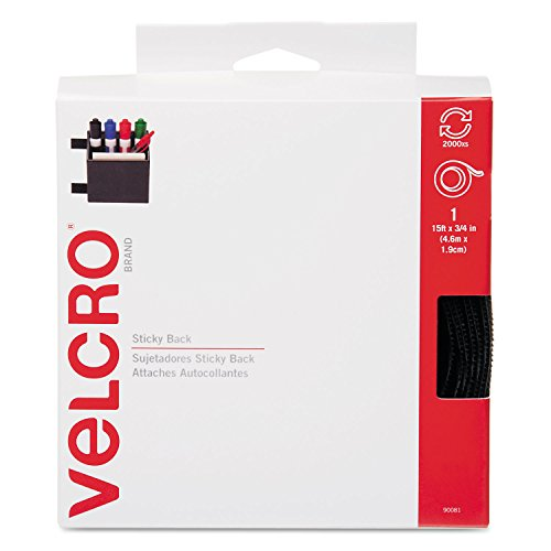 New-Velcro 90081 - Sticky-Back Hook and Loop Fastener Tape with Dispenser, 3/4 x 15 ft. Roll, Black - VEK90081