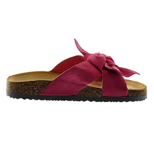 Angkorly Women's Fashion Shoes Sandals Mules - Slip-On - Knot - Node - Cork Wedge 2.5 cm Fushia