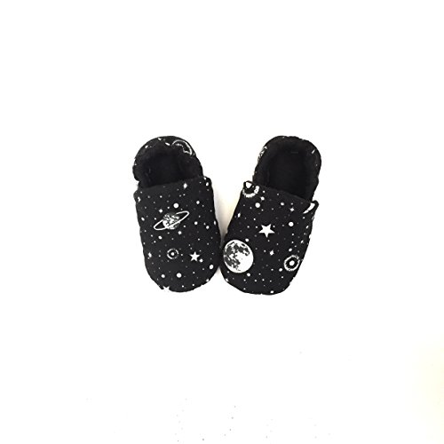 Galaxy Baby Shoes, Black Baby Shoes, Stars Baby Clothing, Outer Space Moccasin, Constellation, Milky Way, Soft Sole Baby Booties, Monochrome Slippers