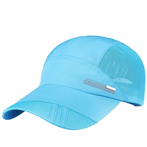OSTELY Adult Mesh Hat Quick-Dry Collapsible Adjustable Wide Brim Sun Protection Hat Outdoor Baseball Cap(Sky Blue)