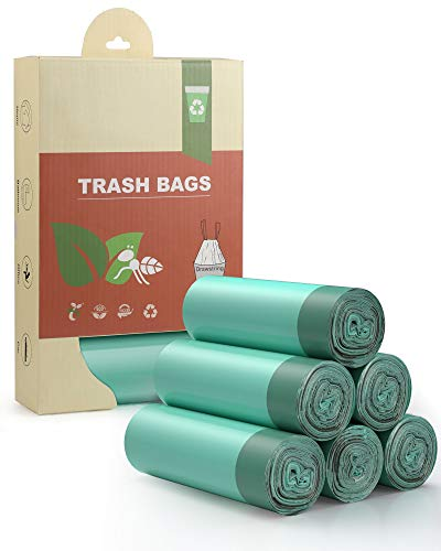 AYOTEE Compostable Trash Bags 4-6 Gallon Drawstring Trash Bags,100 Counts Ultra Strong Unscented Garbage Bags Small Trash Bags Waste Basket Liners for Bathroom, Kitchen,Bedroom, Office, Pet, Car