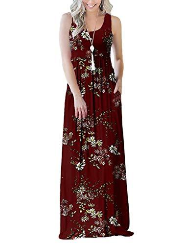 Scoop Neck Sleeveless Dress - SWQZVT Women's Summer Bohemian Floral Dresses Sleeveless Pockets Racerback Scoop Neck Casual Long Maxi Tank Dress Wine Red Flower L