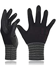 DEX FIT Black Nylon Work Gloves FN320, 3D Comfort Stretch Fit, Power Grip, Thin Lightweight, Durable Nitrile Foam Coating, Small 3 Pairs Pack