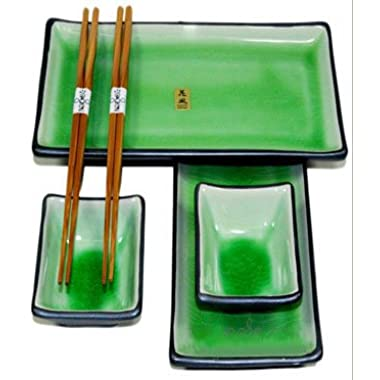 Japanese Sushi Plate Set w/ Chopsticks, Green Crackle, 6 Piece