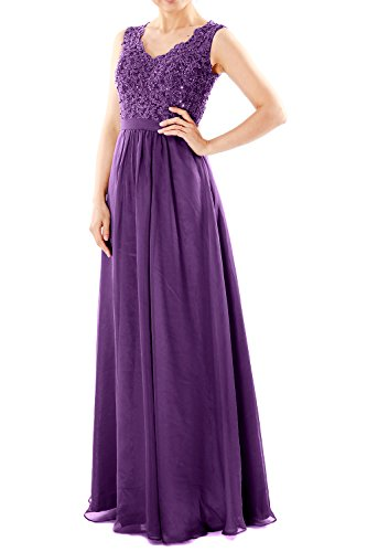 Violett Party Prom Neck Chiffon Evening Lace Women V MACloth Long Dresses Formal Gown qwC6pB7