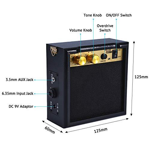 AsmuseTM 5W Mini Amplificador Combo para guitarras Bajo Eléctrico Instrumentos Amp con efecto de overdrive y Batería Recargable 9V: Amazon.es: Instrumentos ...