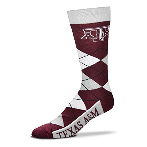 (For Bare Feet NCAA Argyle Lineup Socks-Texas A&M Aggies-One Size Fits Most)