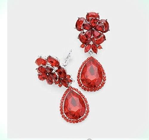 Chandelier Earrings Wedding Gift for women Free shipping 18K Gold Plated GP Red Crystal Rhinestone Dangle Drop Earrings Prom Earrings