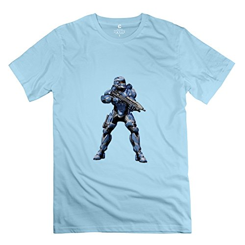 Halo Spartan Assault:armour Retro 100% Cotton SkyBlue T Shirt For Mens Size -
