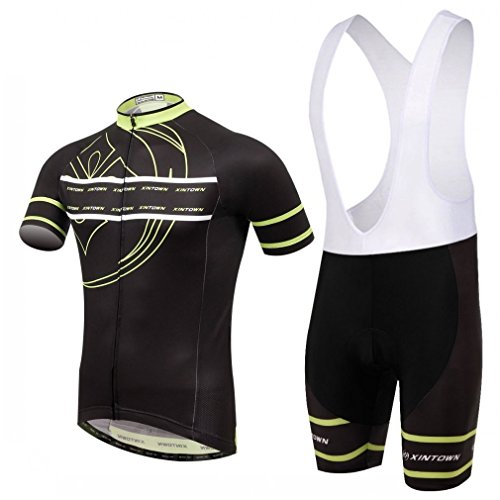 BESYL Unisex Printed High-Performance Mesh Cycling Clothing Kit, Cycling Jerseys Short Sleeve and Bib Padded Shorts Suit for Bike, Biker, Bicycle, Riding (Black Green White)