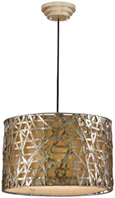 22 Champagne Metal Basketweave Drum Pendant Light