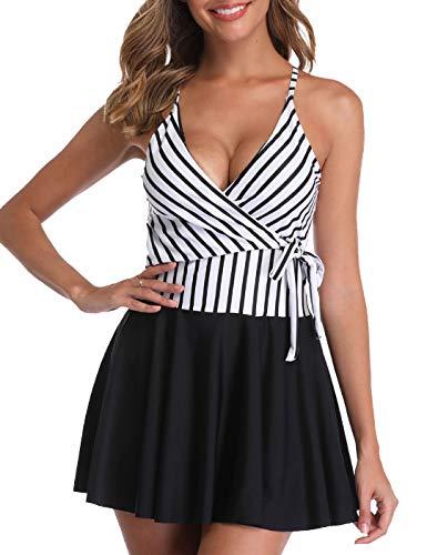 Crossover Tankini - SelfieGo Women's Stripe Swimdress Tankini Set Crossover Ruched Skirt Swimwear Swimsuit Bathing Suit(White X-Large)