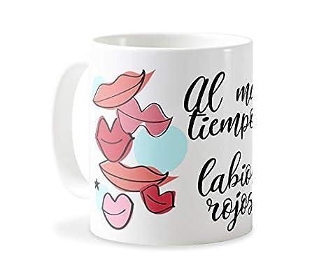 Personaliza tu carcasa Tazas de café o Desayuno con diseños de Latorita | Tazas de cerámica Blanca (AAA) | Taza con Frase - Al Mal Tiempo Labios Rojos