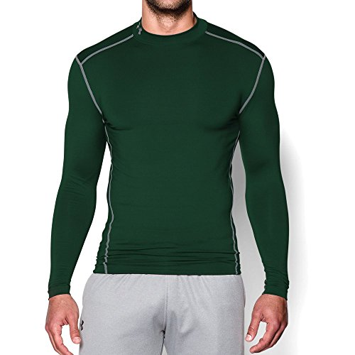 Under Armour Mens ColdGear Armour Compression Mock, Forest Green /Steel, Large