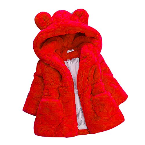 (KONFA Teen Toddler Baby Girls Hooded Thick Coat,for 1-6 Years,Winter Warm Cartoon Bear Jacket Cloak Clothes (12-18 Months, Red))
