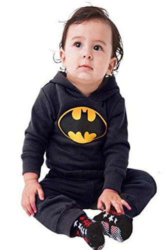 Ameny Newborn Kids Hoodies Bat Man Cosplay Fleece Warm Romper Babysuit Black 100cm / US 6-9M (Original Batman Suit)