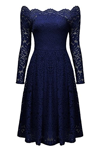 Aibwet Women's Vintage Floral Lace Long Sleeve Boat Neck Off-The-Shoulder Cocktail Formal Swing Dress (M, Navy Blue)