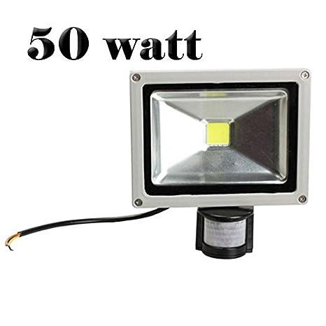 33a683a484564 Foco led con sensor de movimiento y sensor crepuscular luz FRIA 6500k ext  IP65 - 50 Watt  Amazon.es  Hogar