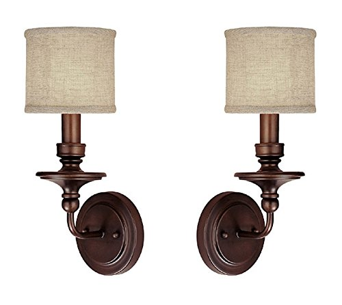 2 Pack Burnished Bronze Capital Lighting 1231PN-451 Wall Sconce with White Fabric Shades, Polished Nickel Finish