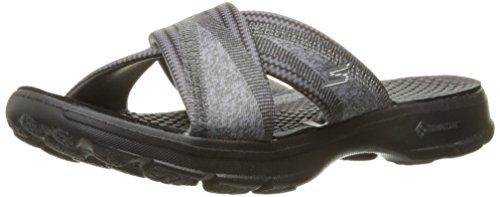 Skechers Performance Womens Go Walk Mellow Flip Flop,Black,9 M US
